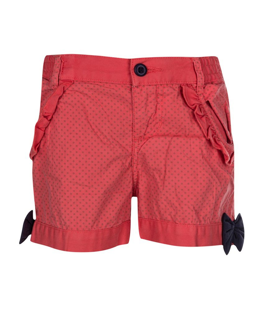 Tickles Pink Cotton Shorts for Girls