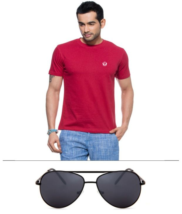 D Vogue London Maroon Cotton T-shirt With Avitor