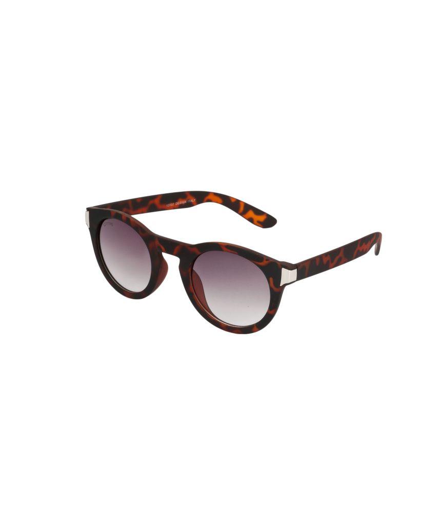 Glitters Brown Sheet Round Sunglasses