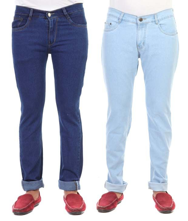Haltung Cotton Blend Blue Regular Fit Denim Jeans - Pack of 2