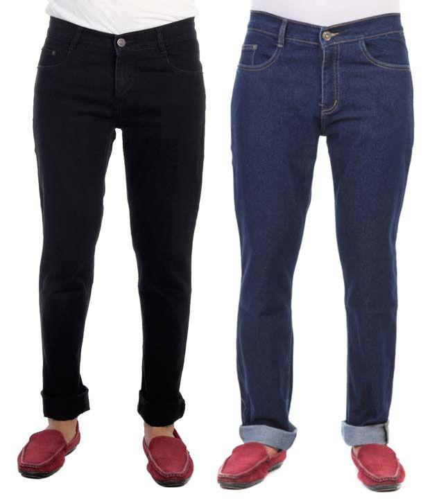 Haltung Cotton Blend Multicolor Regular Fit Denim Jeans - Pack of 2