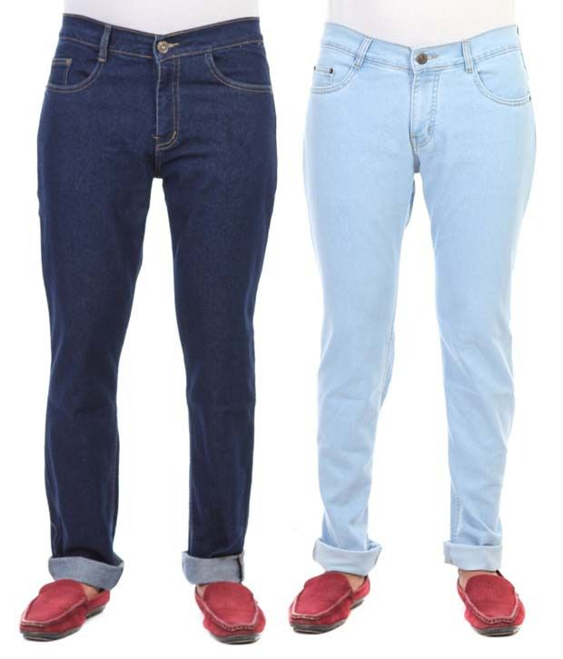 Haltung Cotton Blend Regular Fit Multicolor Stretchable Denim Jeans - Pack of 2