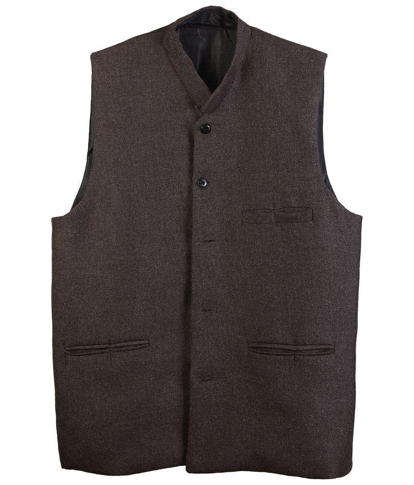 Selfieseven Brown Semi Formal Waistcoat