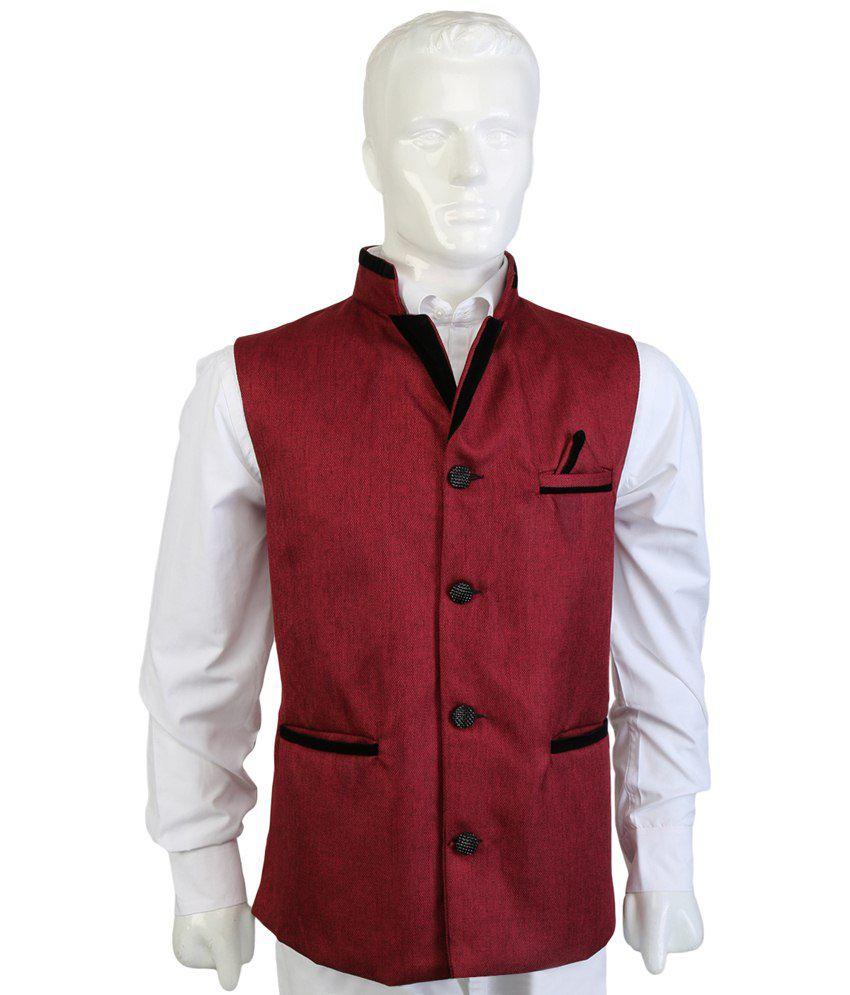 Selfieseven Maroon Party Wear Waistcoat