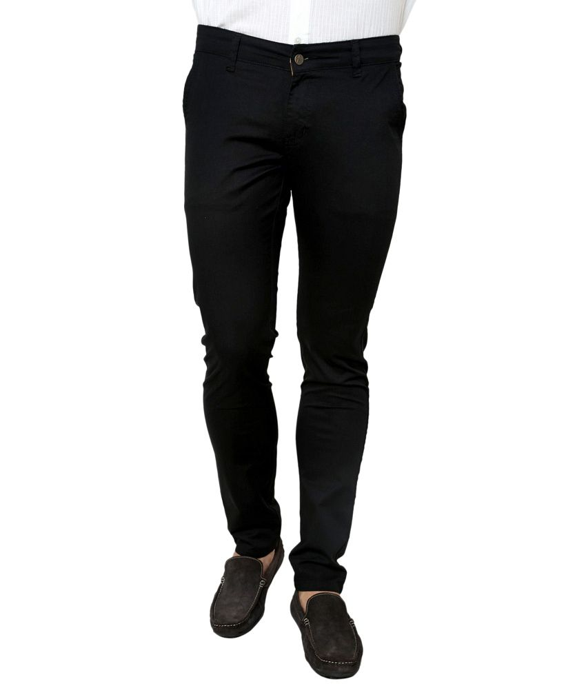 Zaab Black Cotton Slim Fit Casual Trouser