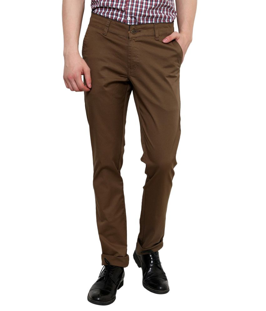Zaab Brown Cotton Slim Fit Casual Trouser