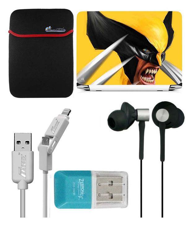 Anwesha's Laptop Sleeve With Lightning & Micro Usb Cable Ubon Ub-85 Earphone Card Reader And Laptop Skin - Wolvarine Yellow