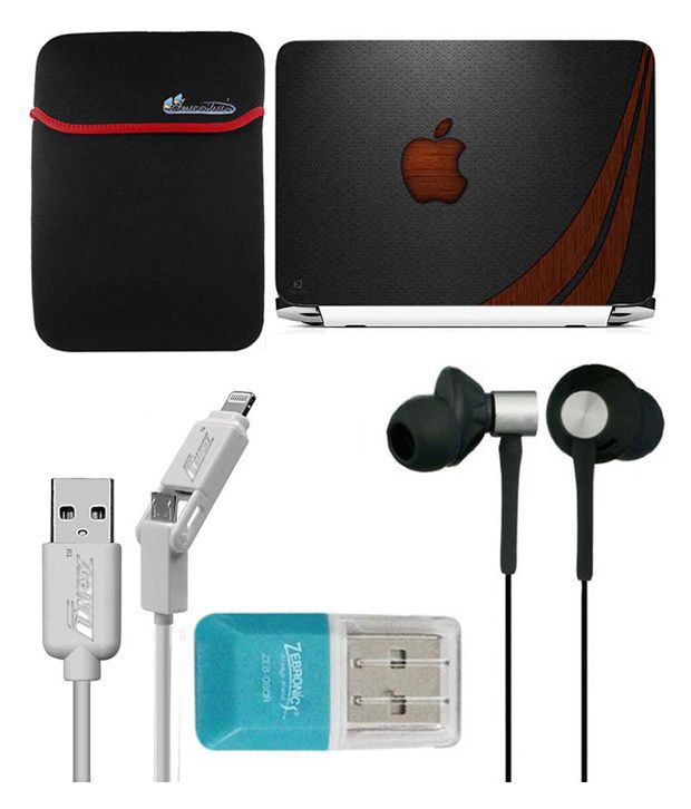 Anwesha's Laptop Sleeve With Lightning & Micro Usb Cable Ubon Ub-85 Earphone Card Reader And Laptop Skin - Apple Brown Wave