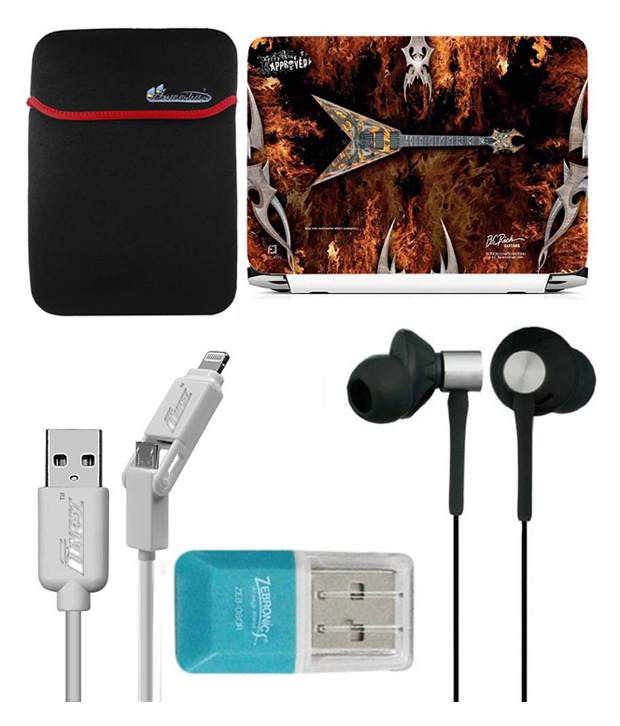 Anwesha's Laptop Sleeve With Lightning & Micro Usb Cable Ubon Ub-85 Earphone Card Reader And Laptop Skin - V Guitar Fire