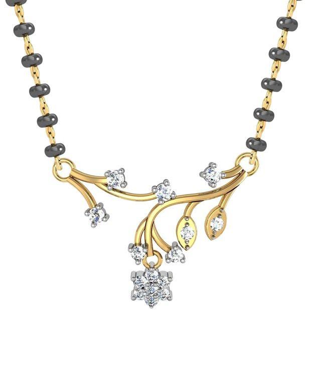Avsar Cute 18kt Real Gold & 0.25 Ct Diamond Mangalsutra