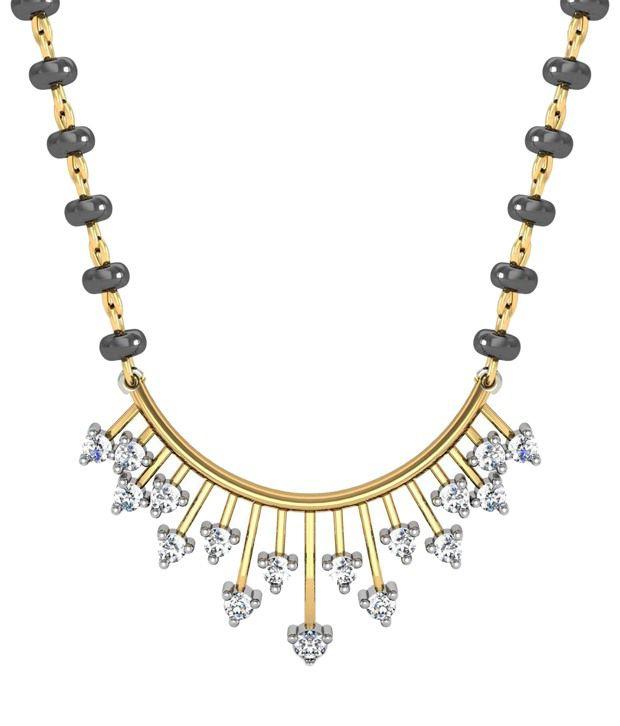 Avsar Trendy 18kt Real Gold  amp; 0.35 Ct Diamond Mangalsutra