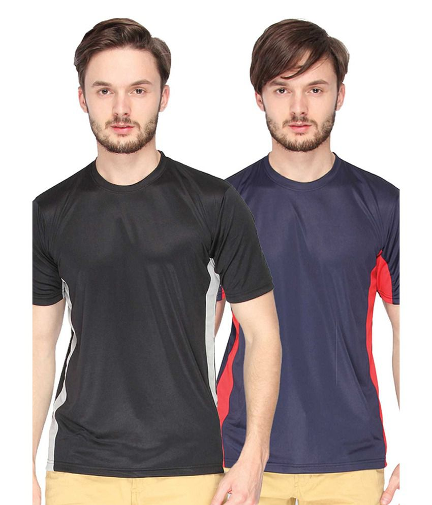 Campus Sutra Black & Blue Round Neck Jersey (Combo of 2)