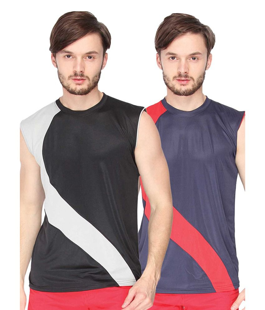 Campus Sutra Black & Blue Sleeveless Round Neck Jersey (Combo of 2)