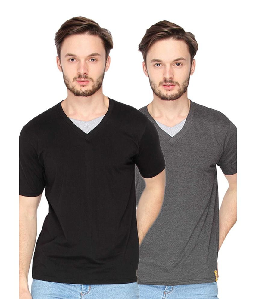 Campus Sutra Black & Charcoal Grey V-Neck T-Shirts (Combo Of 2)