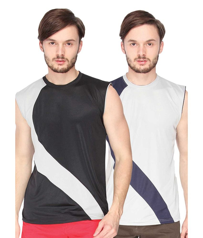 Campus Sutra Black & Grey Sleeveless Round Neck Jersey (Combo of 2)