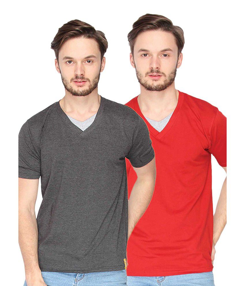 Campus Sutra Charcoal Grey & Red V-Neck T-Shirts (Combo Of 2)