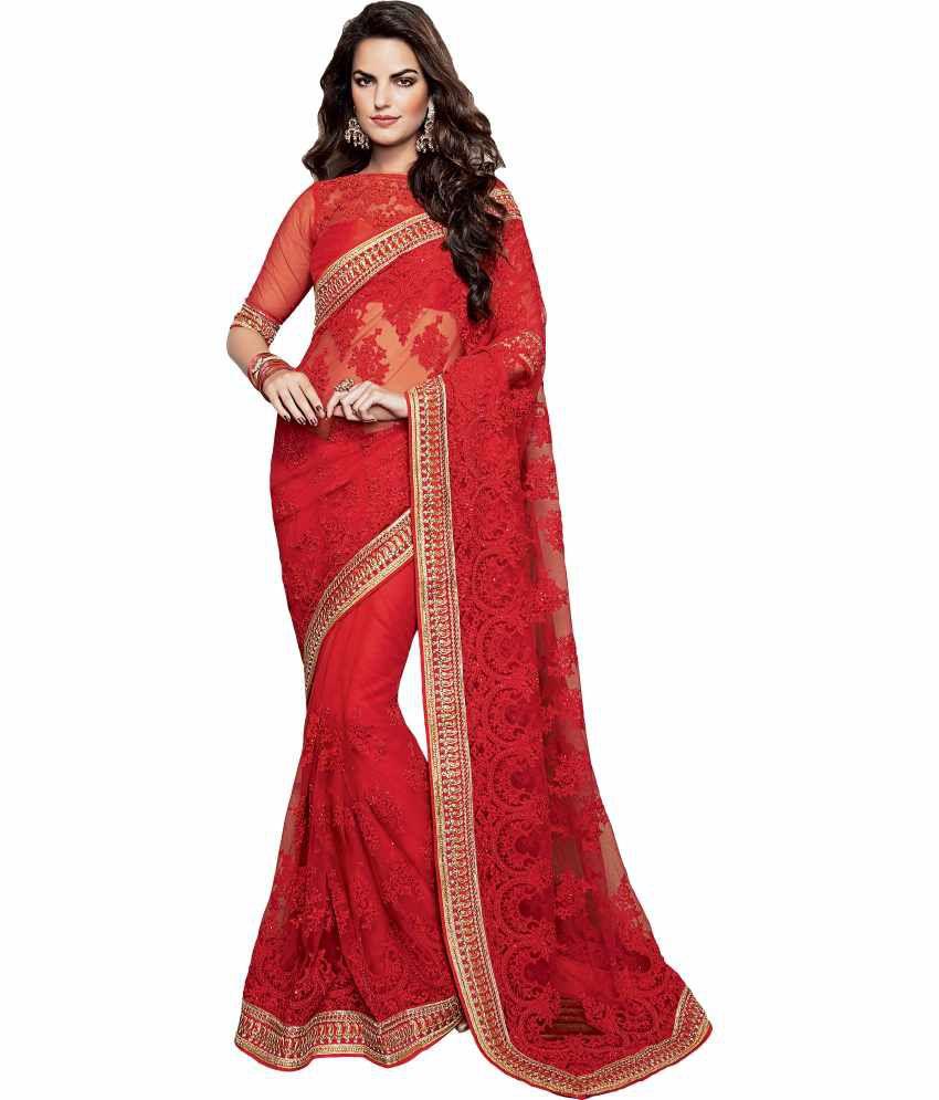 Jalsaa Red Net Buti Saree