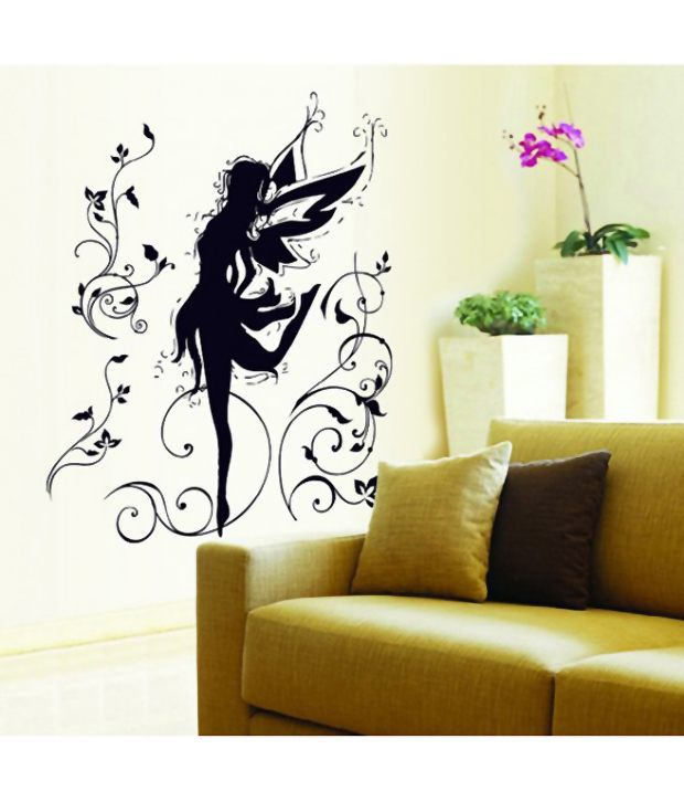 stickershopee black angel wall sticker wall decal - buy