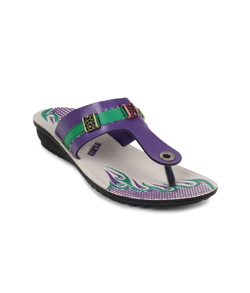 11e Purple Low Heel Slippers