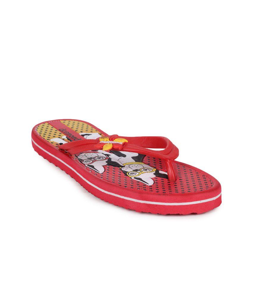 11e Red Flat Flip Flops
