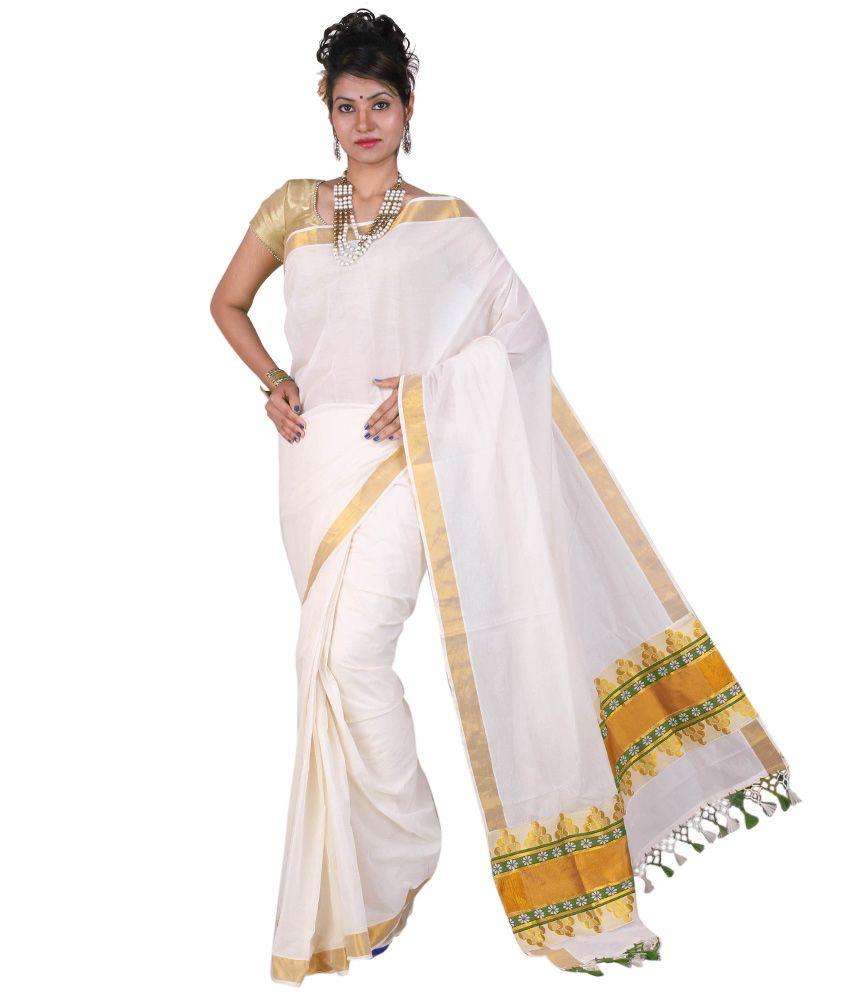 2738f0b332d0a Onam special designer kerala saree Source · Fashion Kiosks Kerala Cotton  Kasavu White   Green Kunjam Pallu Saree