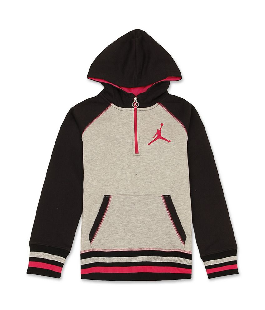 Jordan Kids Grey-Black Full Sweat Shirt For Kids
