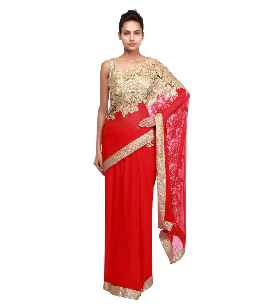 f413df0163e77c Kalki Fashion Red Chiffon Mirror Work Saree - Buy Kalki Fashion Red Chiffon  Mirror Work Saree Online at Low Price - Snapdeal.com