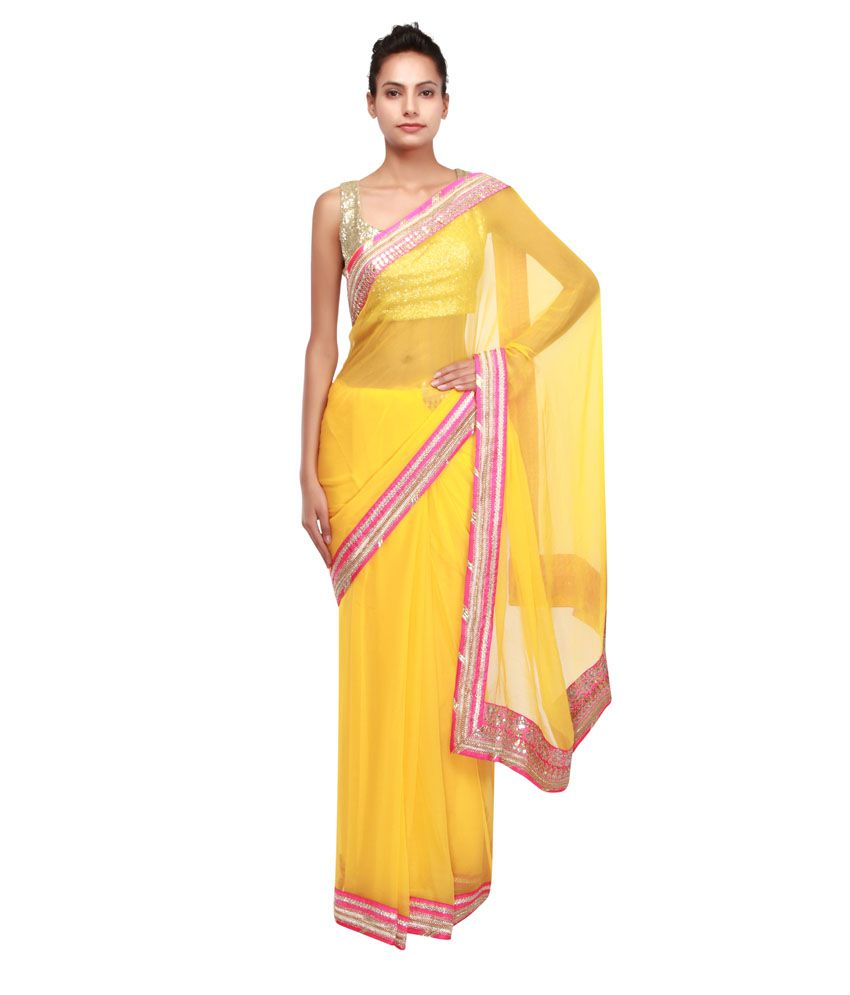 Kalki Fashion Yellow Chiffon Saree