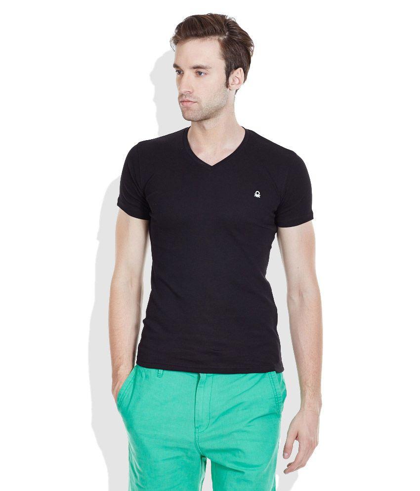 United Colors of Benetton Black V-Neck T-Shirt