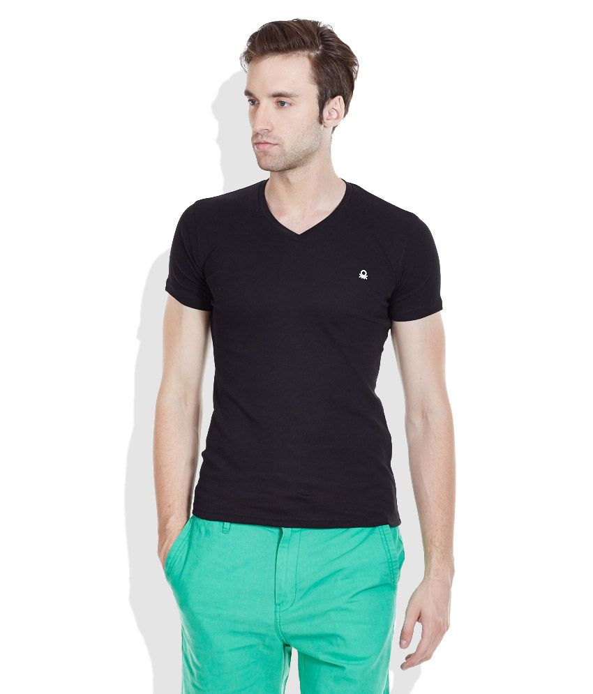 United Colors of Benetton Black V-Neck T-Shirt