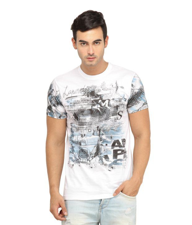 H2 Printed Round Neck Cotton T-shirt - White