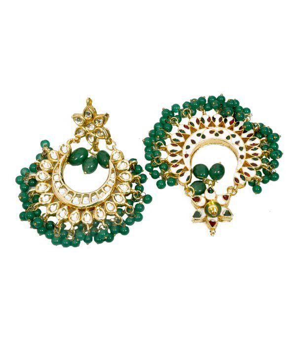 Imli Street Green Beads Kundan Danglers & Drop