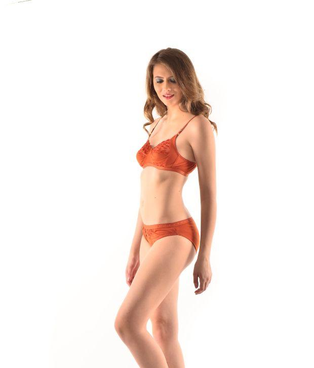 d44bc8d9ffa4d Buy Modern Form Orange Cotton Bra   Panty Sets Online at Best Prices ...