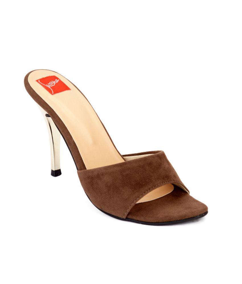 Shibha Footwear Brown Heeled Slip-On