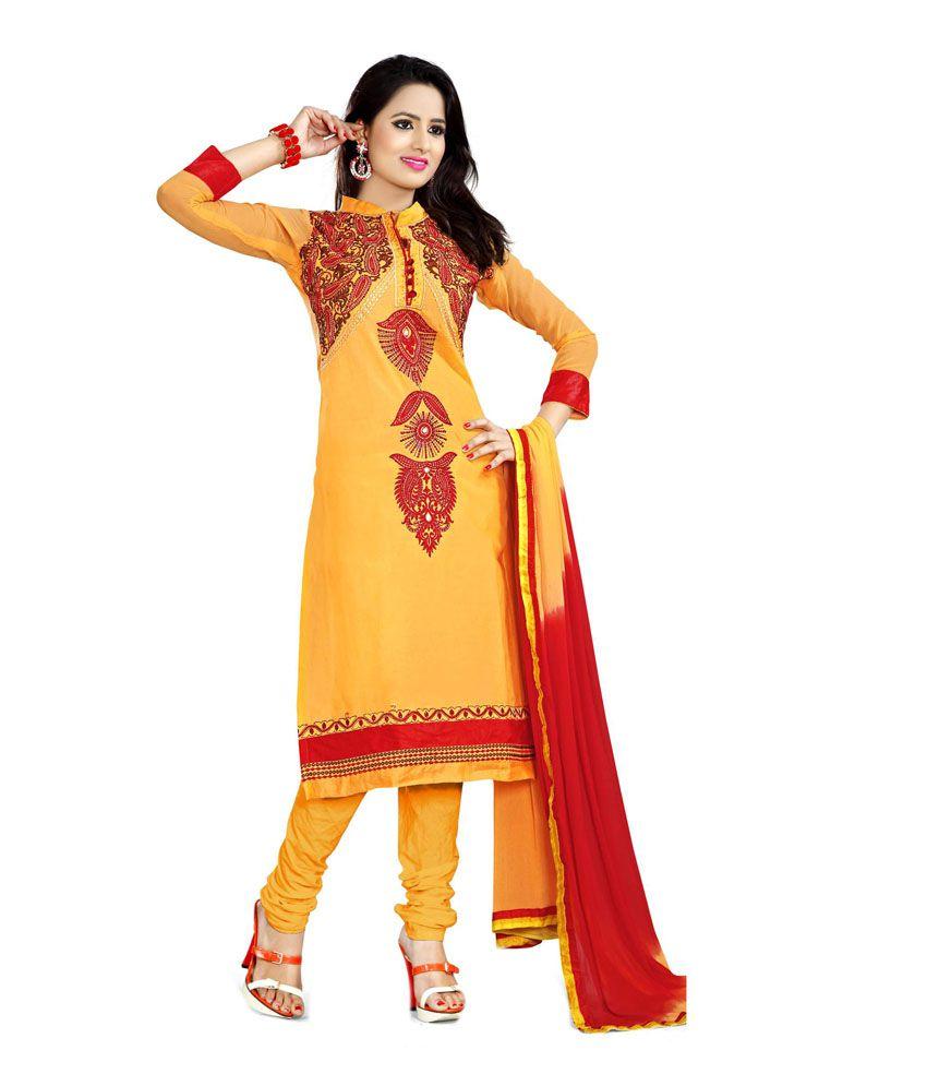 Shree Fashion Yellow Chiffon Unstitched Dress Material