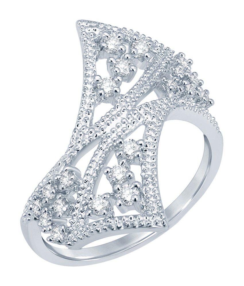 Sukkhi Sleek Rhodium Plated CZ Ring