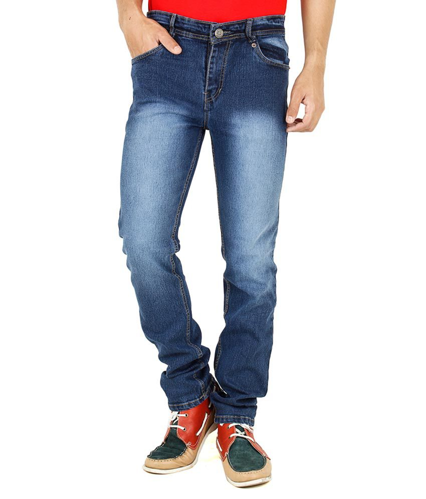 Denzor Dark Blue Cotton Smart Stretchable Men's Jeans