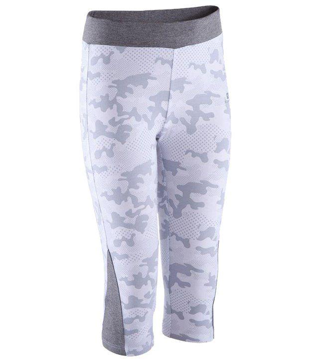 Domyos Light Blue & Gray Fitness Athletic Cropped Leggings