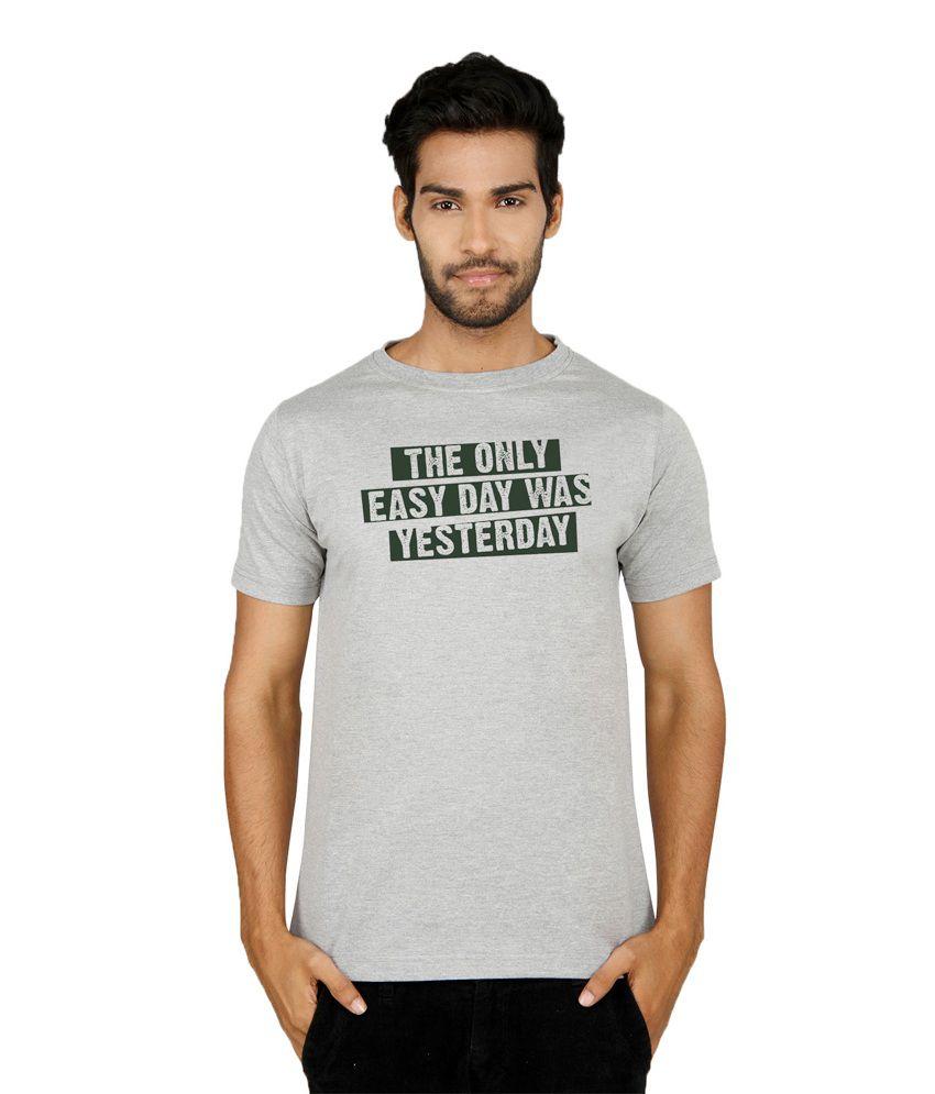 Sayitloud Gray Cotton Round Neck Printed Half Sleeves T-Shirt