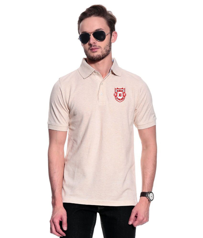 T10 Sports Beige KXIP IPL Signature Polo T- Shirt