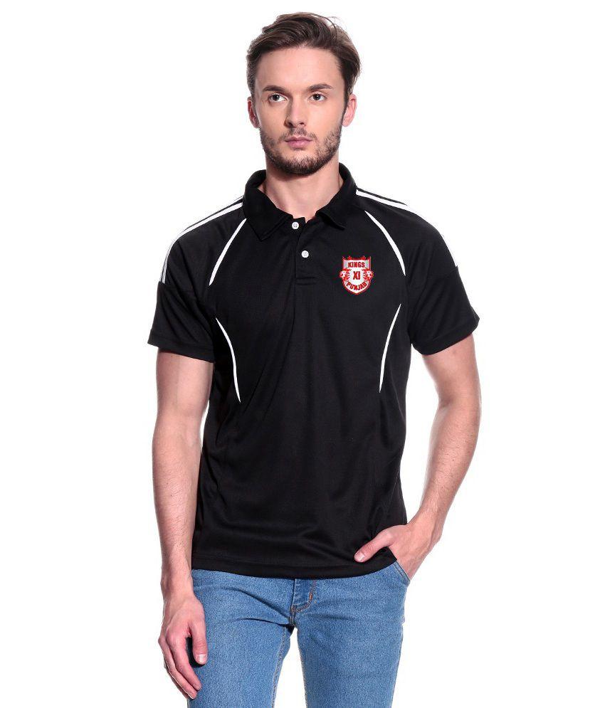 T10 Sports Black KXIP IPL Pyrus Polo T- Shirt