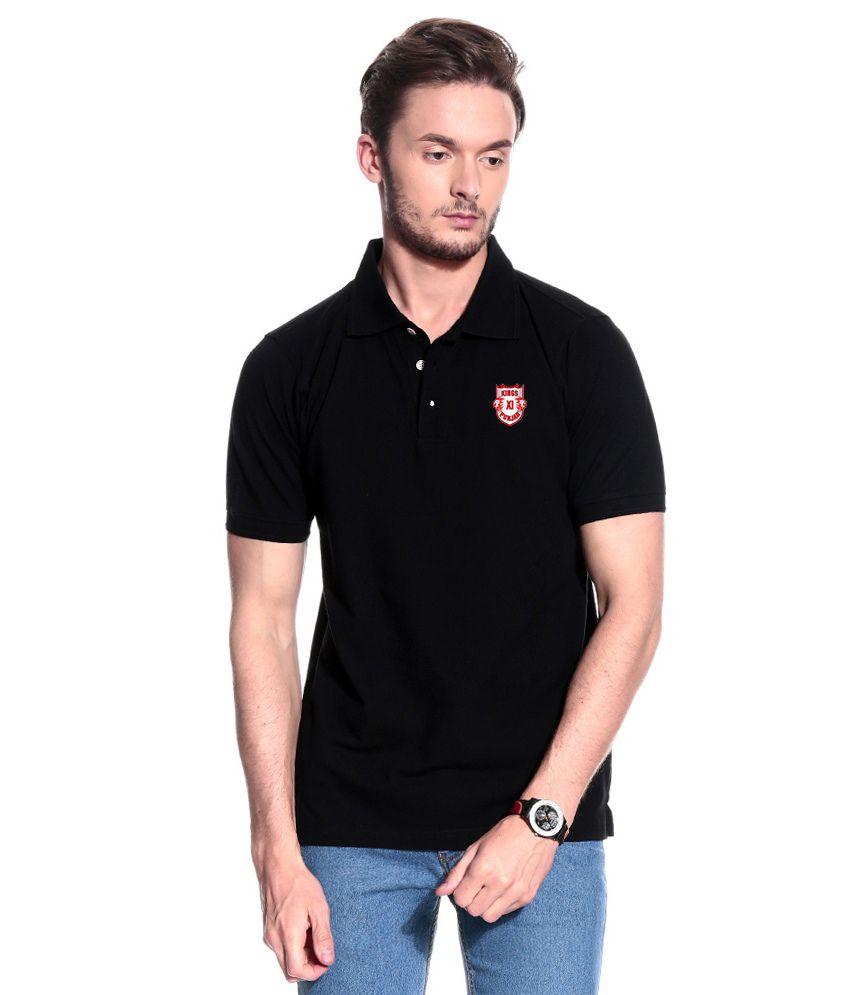 T10 Sports Black KXIP IPL Stretchable Polo T- Shirt