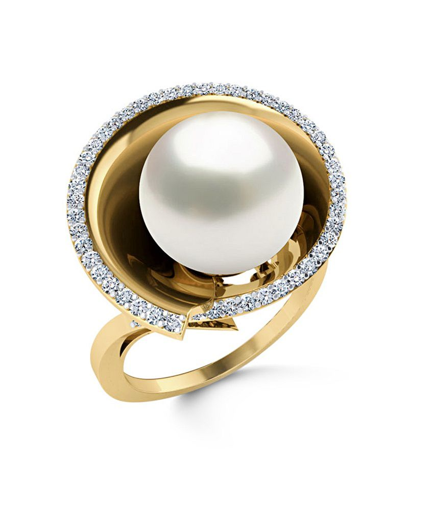 Caratlane 18 Kt Yellow Gold Winter Toast Pink Pearl Ring by CaraLane