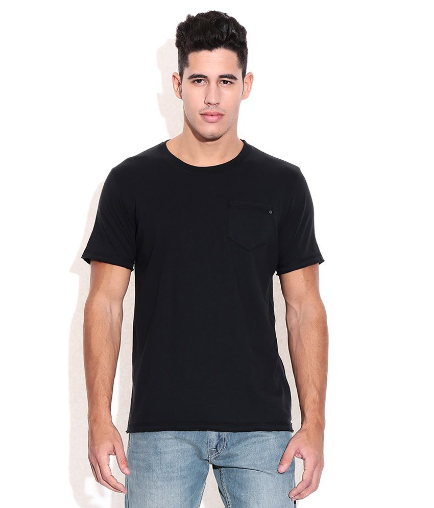 CAT Black Round Neck Cotton T Shirt