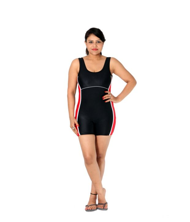 Indraprastha Black And Red Shorts Style Swimsuit/ Swimming Costume