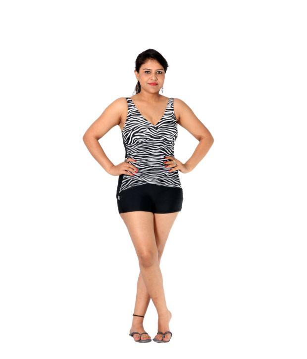 Indraprastha Black And White Shorts Style Swimsuit/ Swimming Costume