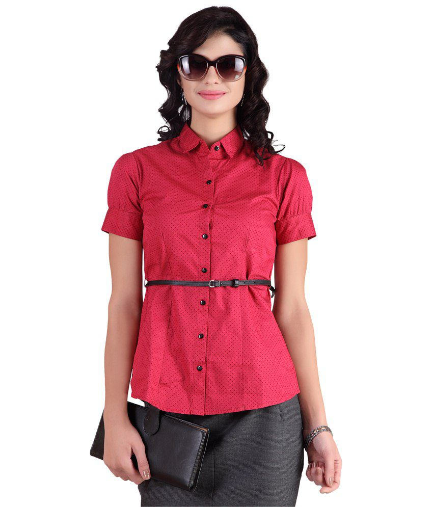 Stop Red Cotton Shirts