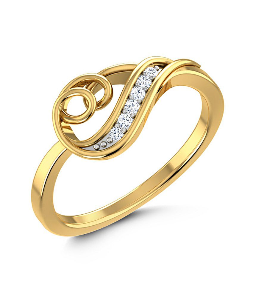 Caratlane 18 Kt Yellow Gold Twirl Tangle Ring by CaraLane