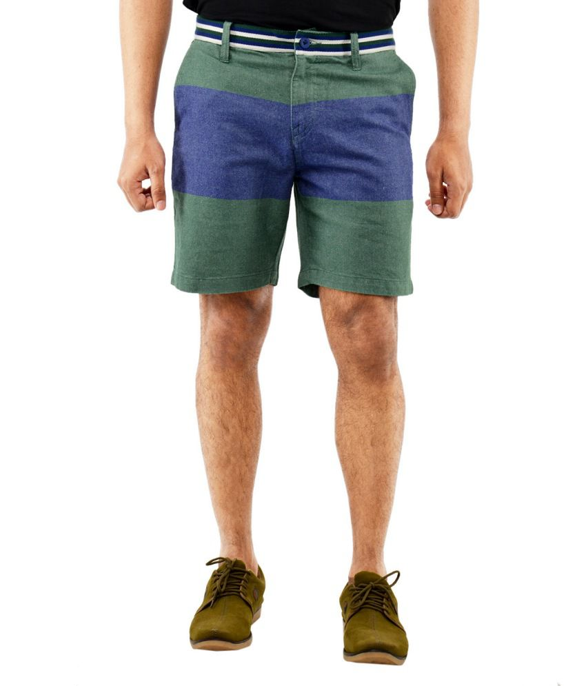 Blue Wave - Green Cotton Shorts for Men