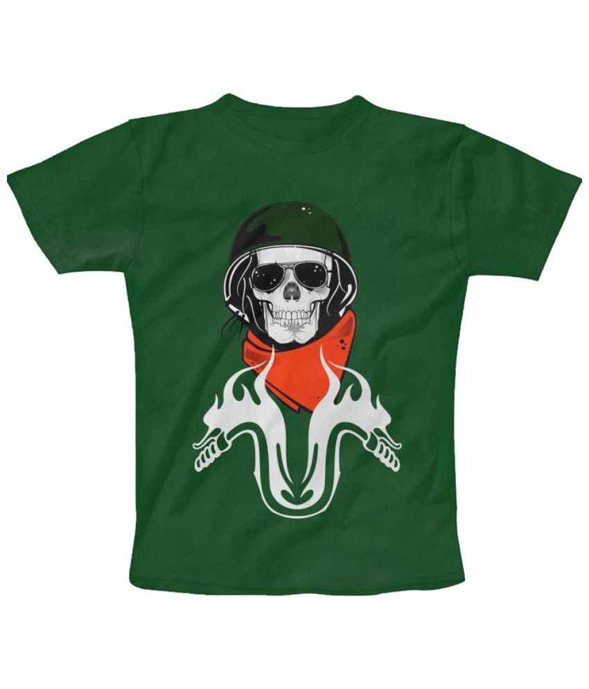 Freecultr Express Biker Guy Graphic Green Short Sleeve T Shirt